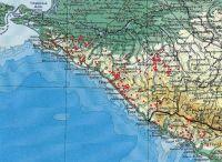 Дольмены Кавказа на физической карте